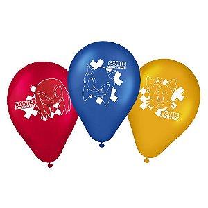 Balão Festa Sonic - 25 unidades - Regina Festas - Rizzo Embalagens e Festas