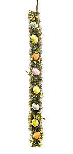 Trilho Barrado com Ovos Decorativos Decoração de Páscoa - 80cm - Linha Fondant  - Cromus Páscoa Rizzo Embalagens