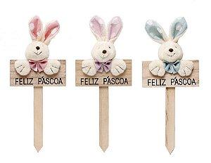 Plaquinha em Madeira Corações Coelho - 22cm x 10cm - Linha Pedacinho de Amor - Cromus Páscoa - Rizzo Embalagens