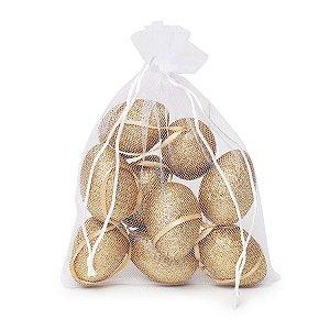 Ovo de Páscoa Decorativos no Saquinho Glitter Ouro - 9 unidades - Cromus Páscoa - Rizzo Embalagens