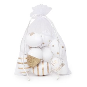 Ovo de Páscoa Decorativos no Saquinho Branco e Ouro Sortidos - 9 unidades - Cromus Páscoa - Rizzo Embalagens