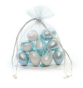 Ovo de Páscoa Decorativos no Saquinho Branco e Azul Perolado Sortidos - 9 unidades - Cromus Páscoa - Rizzo Embalagens