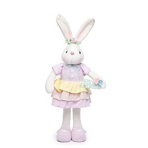 Coelha com Vestido e Placa Feliz Páscoa - 55cm x 20cm x 10cm - 1 unidade - Linha Rocambole - Cromus Páscoa - Rizzo Embal