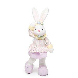 Coelha com Vestido e Pé para Trás - 45cm x 20cm x 10cm - 1 unidade - Cromus Páscoa - Rizzo Embalagens