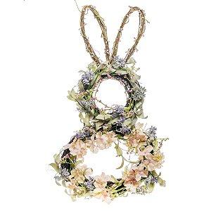 Coelho Rústico com Flores e Folhas - 60cm x 30cm x 8cm - 1 unidade - Fondant - Cromus Páscoa - Rizzo Embalagens