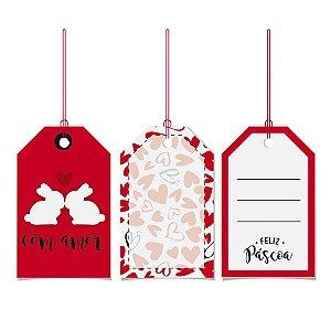 Tags De Para com cordão - Amor - 12 unidades - Cromus Páscos - Rizzo Embalagens