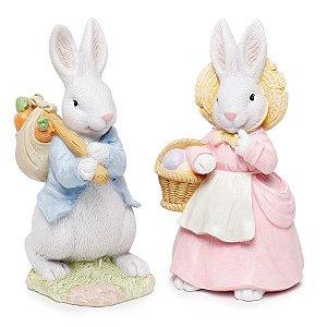 Casal de Coelhos com Cenoura - 20cm x 10cm x 10cm - 1 unidade - Cute Family - Cromus Páscoa - Rizzo Embalagens
