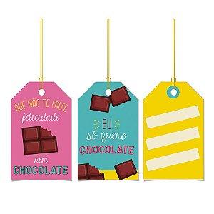 Tags De Para com cordão - Chocolate - 12 unidades - Cromus Páscos - Rizzo Embalagens