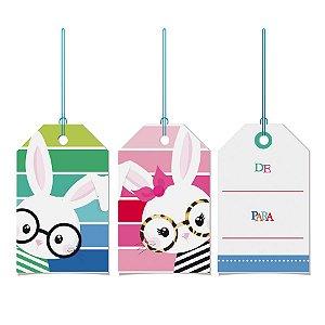 Tags De Para com cordão - Multicolorido - 12 unidades - Cromus Páscos - Rizzo Embalagens