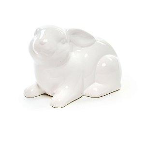 Coelho Decorativo Sentado em Cerâmica - 10cm x 15cm x 15cm - 1 unidade - Cerâmica Clássica - Cromus Páscoa - Rizzo Embal
