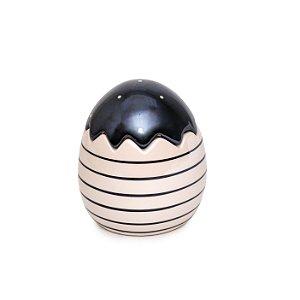Ovo Decorativo Preto e Branco com Tampa em Cerâmica - 11cm x 10cm x 10cm - 1 unidade - Pérola - Cromus Páscoa - Rizzo Em