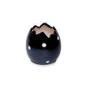 Casca de Ovo Decorativo Bolinhas Branco e Preto em Cerâmica - 8cm x 8cm x 8cm - 1 unidade - Pérola - Cromus Páscoa