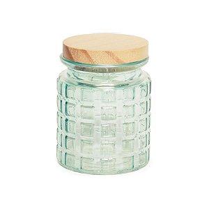 Pote de Vidro Verde Pastel Quadriculado P - 12x8x8cm - Linha Drops - Cromus Páscoa - Rizzo Embalagens