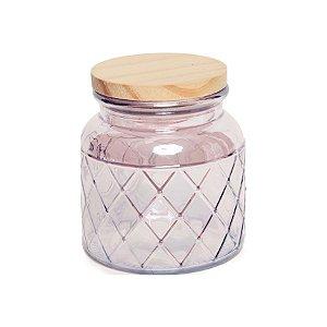 Pote de Vidro Rosa Pastel Losango M - 15x10x10cm - Linha Drops - Cromus Páscoa - Rizzo Embalagens