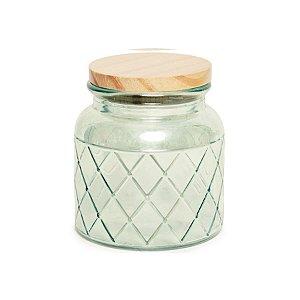 Pote de Vidro Verde Pastel Losango M - 15x10x10cm - Linha Drops - Cromus Páscoa - Rizzo Embalagens