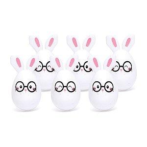 Ovinhos de Plástico Coelho de Óculos - 6 unidades - 5x5x7cm - Cromus Páscoa - Rizzo Embalagens