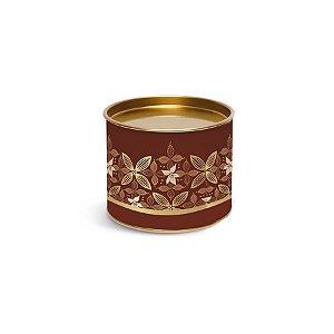 Lata para Bombons Marrom e Dourado Linha Chocolate - 10x10x7cm - 01 unidade - Cromus Páscoa - Rizzo Embalagens