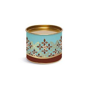 Lata para Bombons Azul e Dourado Linha Chocolate - 10x10x7cm - Cromus Páscoa - Rizzo Embalagens