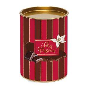 Lata para Ovo 350g Vermelho e Marrom Linha Chocolate - 13x13x18cm - Cromus Páscoa - Rizzo Embalagens
