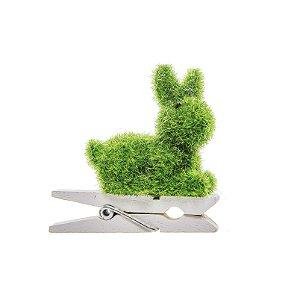 Prendedor Coelho Verde Sentado - 4,5x4,5x2cm - 6 unidades - Cromus Páscoa - Rizzo Embalagens