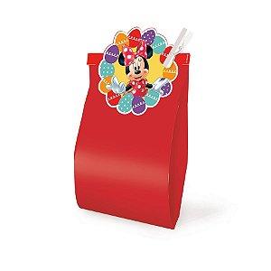 Saquinho com Fechamento Vermelho 14x8x4cm Páscoa Minnie Disney - 10 unidades - Cromus Páscoa Disney - Rizzo Embalagens