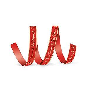 Fita de Cetim Decorada Hot Stamping Feliz Páscoa Vermelho 15mm - 10 metros - Cromus - Rizzo Embalagens