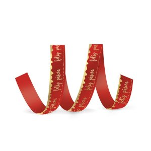 Fita de Cetim Decorada Hot Stamping Feliz Páscoa Vermelho 22mm - 10 metros - Cromus - Rizzo Embalagens
