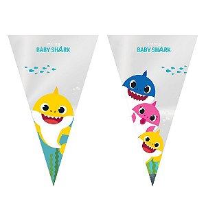 Cone Festa Baby Shark 18x30cm - 50 unidades - Cromus Páscoa - Rizzo Embalagens