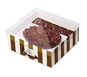 Caixa New Practice Meio Ovo com Bombons Chocolate Listras Marfim 350g 18,5x17,5x8cm - 06 unidades - Cromus Páscoa - Rizzo Embalagens