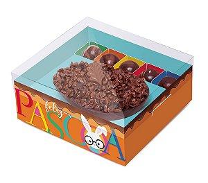 Caixa New Practice Meio Ovo com Bombons Páscoa Cores Laranja 350g 18,5x17,5x8cm - 06 unidades - Cromus Páscoa - Rizzo Embalagens