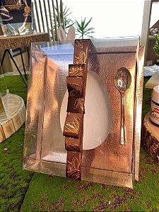 Caixa Ovo de Colher com Moldura - Meio Ovo de 250g - 20cm x 15,5cm x 10cm - Rosê - 5 unidades - Assk - Páscoa Rizzo Embalagens