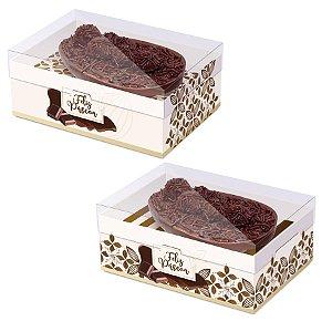 Caixa New Practice com Regulagem de Altura Meio Ovo Flor de Cacau Marfim Sortido- 06 unidades - Cromus Páscoa - Rizzo Embalagens