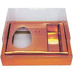Caixa Ovo de Colher com Moldura 3 Bombons - Meio Ovo de 100g a 150g - 20cm x 15cm x 10cm - Rosê - 5unidades - Assk - Páscoa Rizzo Embalagens