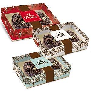 Caixa New Practice Dois Meio Ovo Mini 50g 14,5x11x4cm Chocolate Sortido - 06 unidades - Cromus Páscoa - Rizzo Embalagens