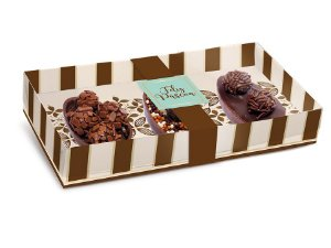 Caixa New Practice Três Meio Ovo Mini 50g 21,5x11x4cm Chocolate Marfim - 06 unidades - Cromus Páscoa - Rizzo Embalagens