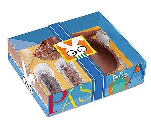 Kit Confeiteiro Páscoa Cores Azul 100g - 19,5x17x5cm - 01 unidade - Cromus Páscoa - Rizzo Embalagens