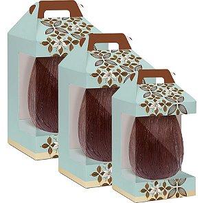 Caixa Maleta Vertical New com Visor Flor de Cacau Turquesa - 06 unidades - Cromus Páscoa - Rizzo Embalagens