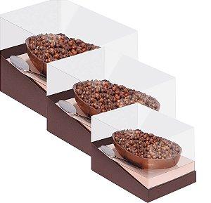Caixa Specialla para Meio Ovo Rosê Gold e Marrom - 06 unidades - Cromus Páscoa - Rizzo Embalagens