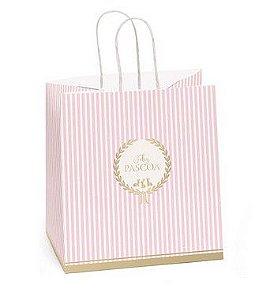 Sacola de Papel para Meio Ovo 350g com Alça Royalle Rosa - 30x22x17,5cm - Cromus Páscoa - Rizzo Embalagens