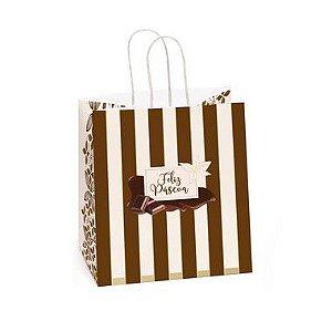 Sacola de Papel para Meio Ovo 350g com Alça Chocolate Feliz - 30cmx22cmx17,5cm - Cromus Páscoa - Rizzo Embalagens
