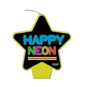 Vela Amarela Festa Neon - 1 unidade - Festcolor - Rizzo Embalagens e Festas
