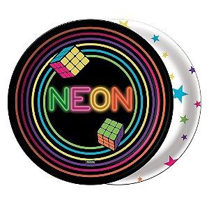 Prato Festa Neon - 18cm - 8 unidades - Festcolor - Rizzo Festas