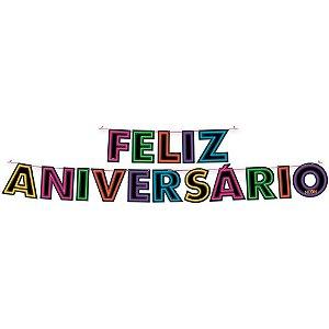 Faixa Feliz Aniversário - Festa Neon - 01 Unidade - Festcolor - Rizzo Festas