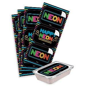 Adesivo Retangular Festa Neon - 12 unidades - Festcolor - Rizzo Festas