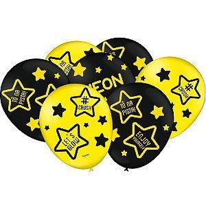 Balão Preto e Amarelo Festa Neon - 25 unidades - Festcolor Festas - Rizzo Embalagens