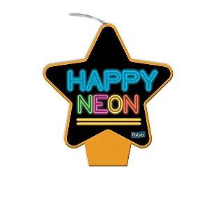 Vela Laranja Festa Neon - 1 unidade - Festcolor - Rizzo Embalagens e Festas