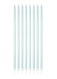 Vela Palito Big Metálica Azul Claro - 18cm - 08 unidades - Silver Festas - Rizzo Festas