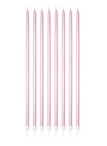 Vela Palito Gigante Metalizada Rosa - 8 un - 18 cm - Silver Festas
