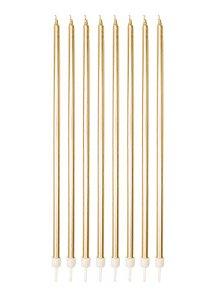 Vela Palito Gigante Metalizada Dourada - 8 un - 18 cm - Silver Festas