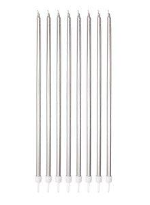 Vela Palito Big Metálica Prata - 18cm - 08 unidades - Silver Festas - Rizzo Festas